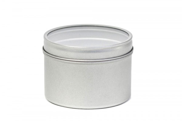 Round tin box for dried herbs