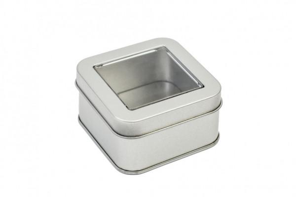 square tin box with window